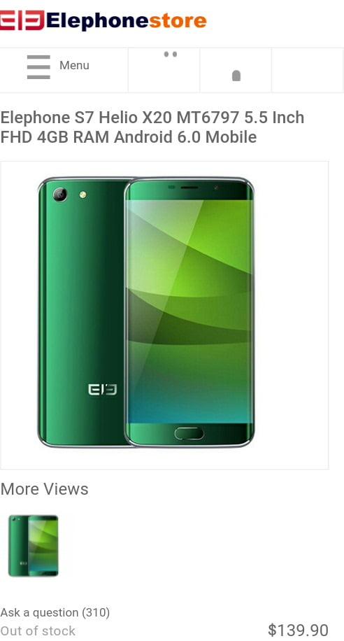 Elephone S7 satış sayfasının ekran görüntüsü.